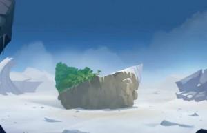 Grougaloragran a téléporté Yugo et ses amis (avec un bout de la plage) loin de l'île d'Oma