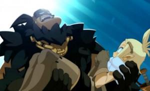 Le chef des pirates fait des allusions un peu osées à Evangelyne