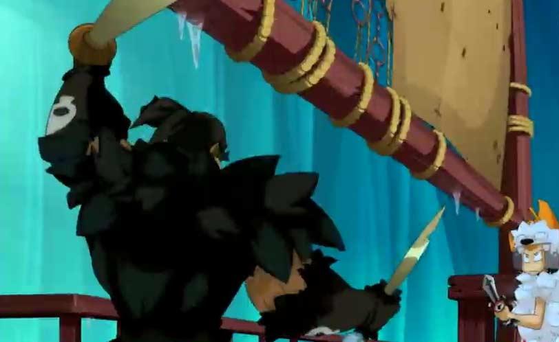 Tristepin combat le chef des pirates avec un style proche de l'escrime