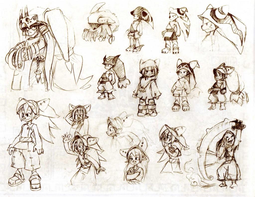 Les croquis de recherches des personnages sont sur papier dessin