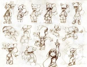 Les croquis de recherches des personnages sont imprimées sur du papier dessin