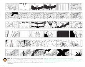 Extrait de story board de l'attaque du Corbeau Noir (Page 14 du Tome 2 de l'Art Book de Wakfu)