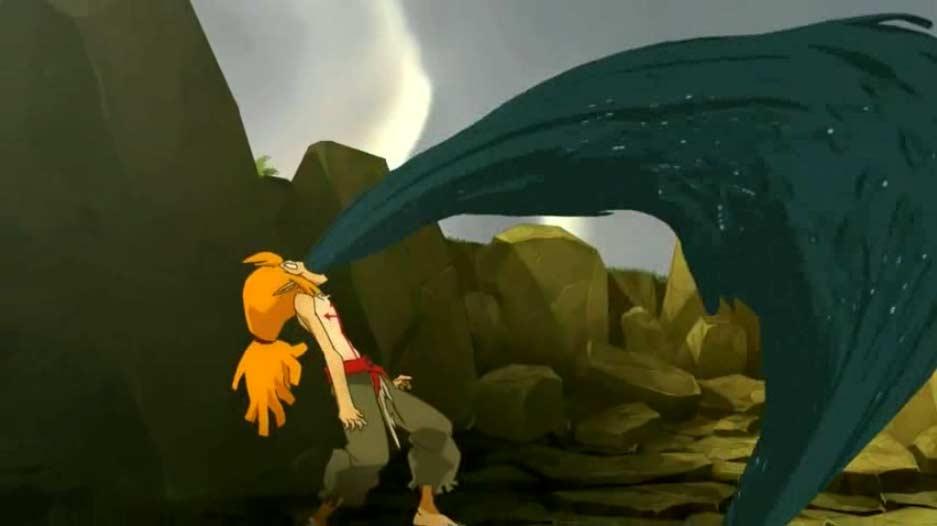 A la fin du court métrage, Goultard se fait posséder par un dragon noir