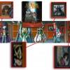 Deux tableaux sont tirés de la belle et la bête et deux sont tirés de Saint Seiya