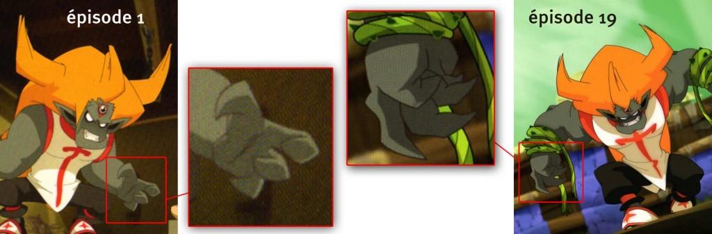 dans l'épisode 1 le monstre Tristepin n'avait que quatre doigts, ici il en a cinq (Wakfu)