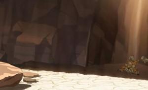 A cause de la chaleur, Igôle ne peut traverser la zone ensoleillée pour rejoindre la zone d'ombre où est Yugo
