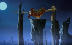 Goultard a préparé un feu pour cuire le monstre qu'il a capturé