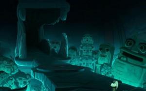 Maître Drill emmène Yugo dans le temple souterrain où se trouve le dofus de Grougaloragran