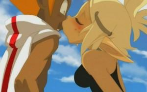 Evangelyne retient Tristepin pour pouvoir l'embrasser