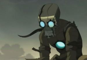 Des larmes coulent derrière le masque de fer de Nox