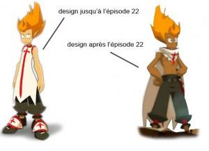 Le design de Tristepin change à l'épisode 22