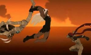 Grougaloragran combat les pantins de Nox sous sa forme humaine
