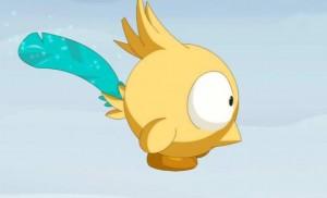 Une plume bleu apparaît pour informer Yugo de la mort de Grougaloragran