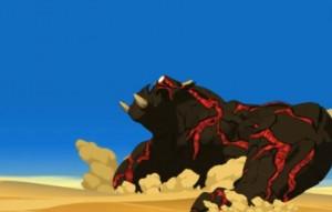 Rubilax s'enfonce dans le sable à cause de son poids