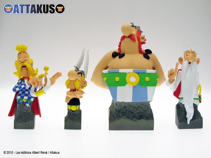 Photo des bustes d'Obélix, d'Astérix, Assurancetourix et Panoramix réalisés par d'Attakus
