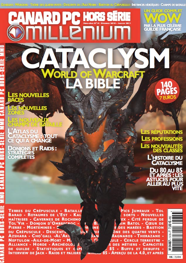 Couverture du magazine Canard PC / Millenium concernant la sortie de Cataclysm