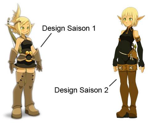 Evangelyne change de design entre la saison 1 et la saison 2 de Wakfu