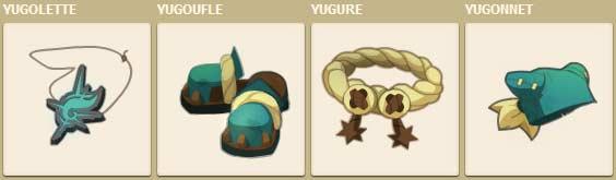 La panoplie Yug dans le jeu vidéo Dofus reprend le costume de Yugo (Wakfu)