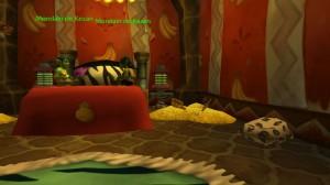 Intérieur Gobelin dans World Of Warcraft. Comme on peut le voir, on rêve bien sur un lit... à côté de tas de pièces d'or