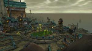 Vue de Kezan de haut. Kezan est l'île principale des gobelins avant World of Warcraft. Joli, non ?