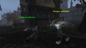 Combat entre un humain et un worgen réprouvé dans World of Warcraft.