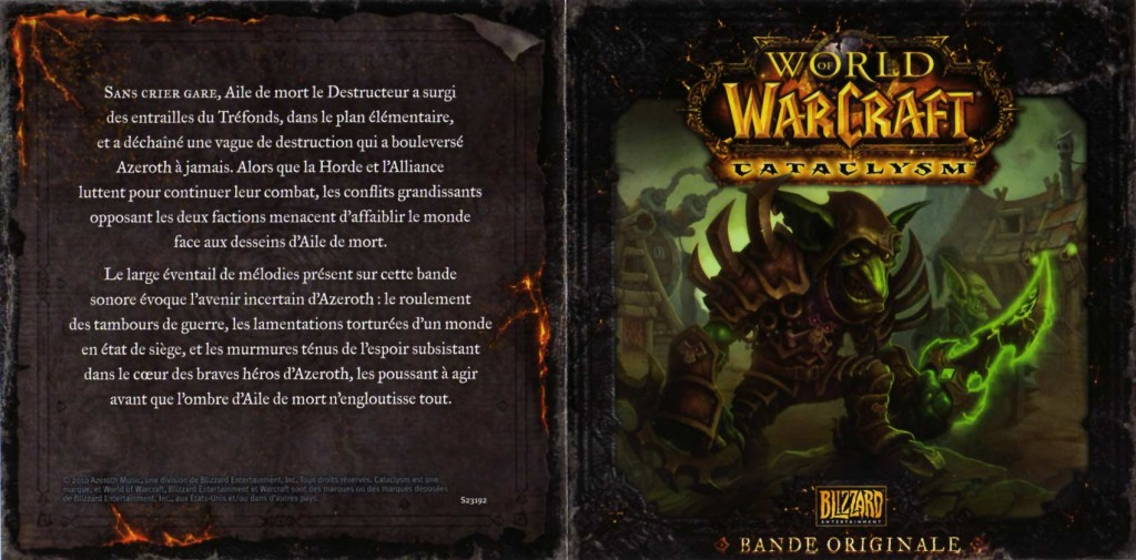 couverture du livret de l'OST du jeu Cataclysm (World of Warcraft)
