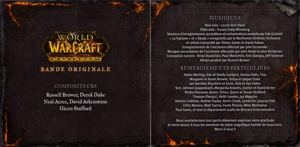 Page 2 et 3 du livret de l'OST du jeu Cataclysm (World of Warcraft)