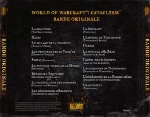 Dos de la boîte de l'OST du jeu Cataclysm (World of Warcraft)