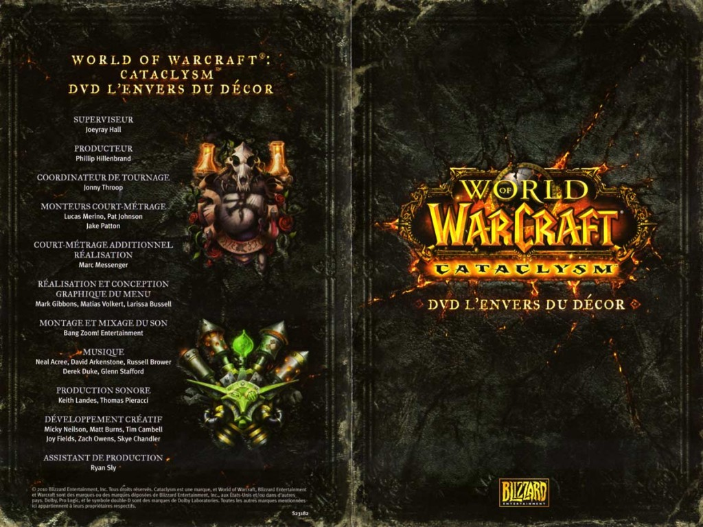 Couverture du livret du DVD du making of du jeu Cataclysm (World of Warcraft)