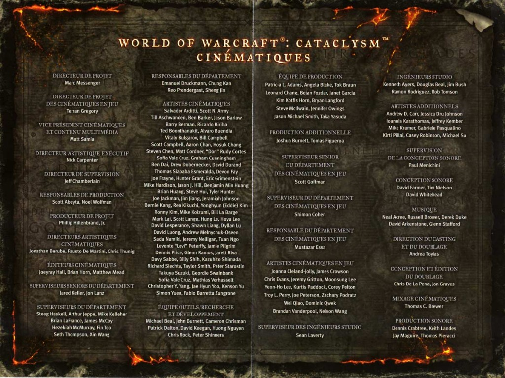 Page 2 et 3 du livret du DVD du making of du jeu Cataclysm (World of Warcraft)