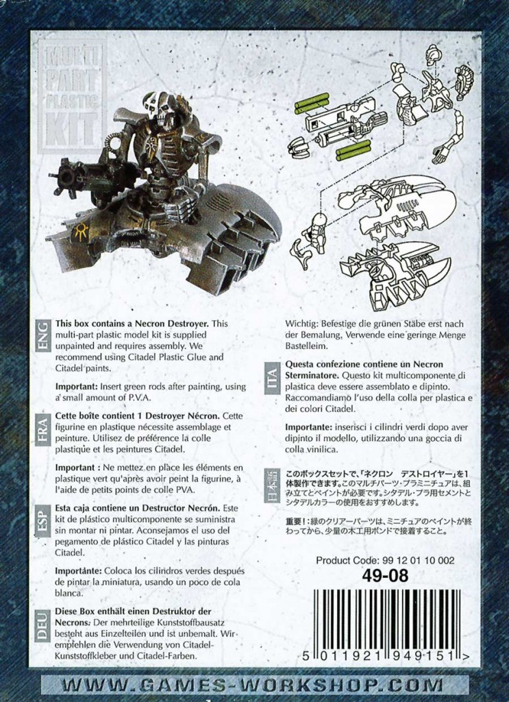 Dos du packaging du Destroyer Necron avec notice de montage (Warhammer 40.000)