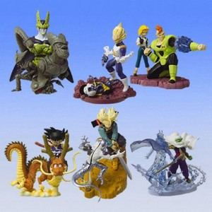 Certaines figurines sont des mini scènes tirées de moments forts d'un animé