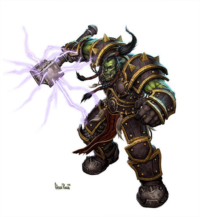 Thrall, le chef de la horde avec l'armure et Marteau de Destin