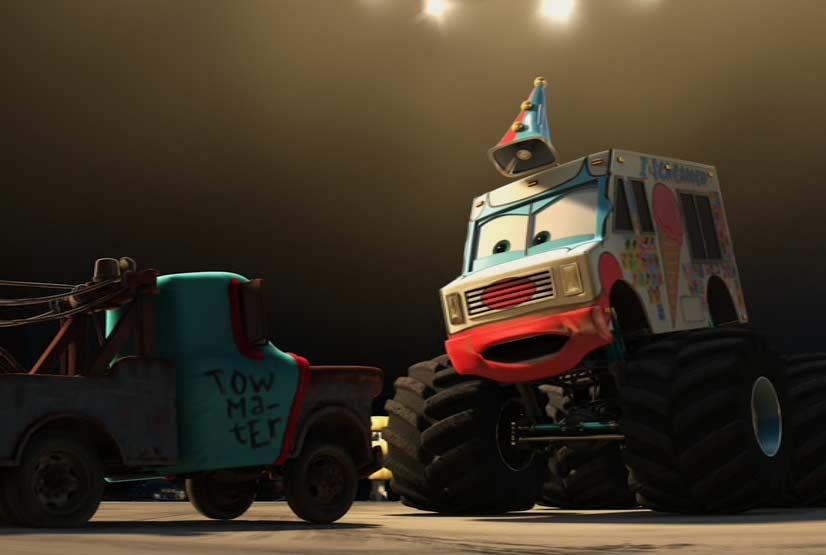 Martin affronte un monster truck appelé Le Congélateur (Cars - Pixar)