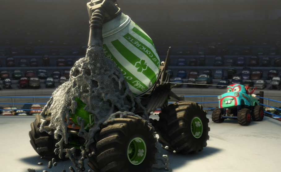 Martin affronte Paddy la toupie Irlandaise (Cars - Pixar)