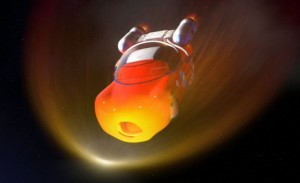 L'entrée dans l'atmosphère est dure pour Flash qui prend feu