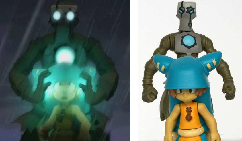 Si on compare les proportions des deux figurines avec la série, il apparaît que Yugo est trop gros