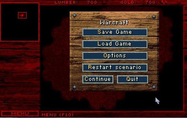 Les menus dans Warcraft 1 ressemblent déjà fortement à ceux de Starcraft et des autres Warcraft