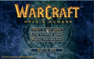 Voici l'écran d'accueil de Warcraft 1 : simple mais efficace