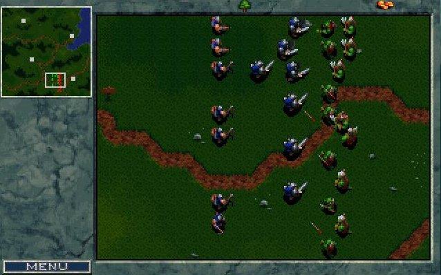 Les orcs et les humains en plein combat dans Warcraft 1