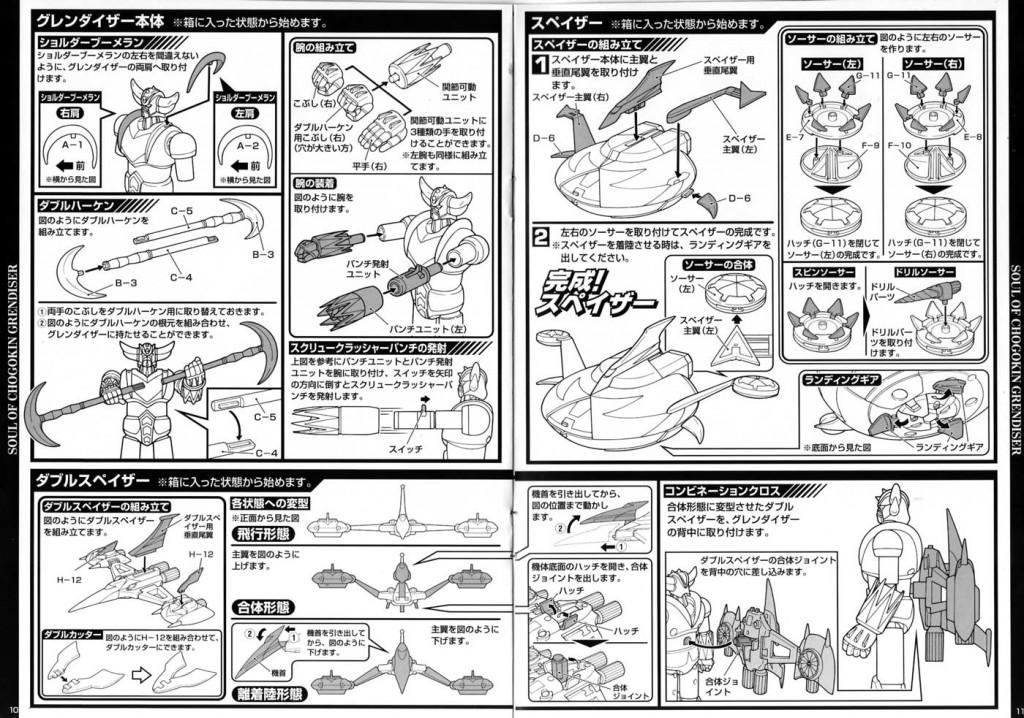 Page 10 et 11 de la notice de Goldorak Soul of Chogokin GX-04S