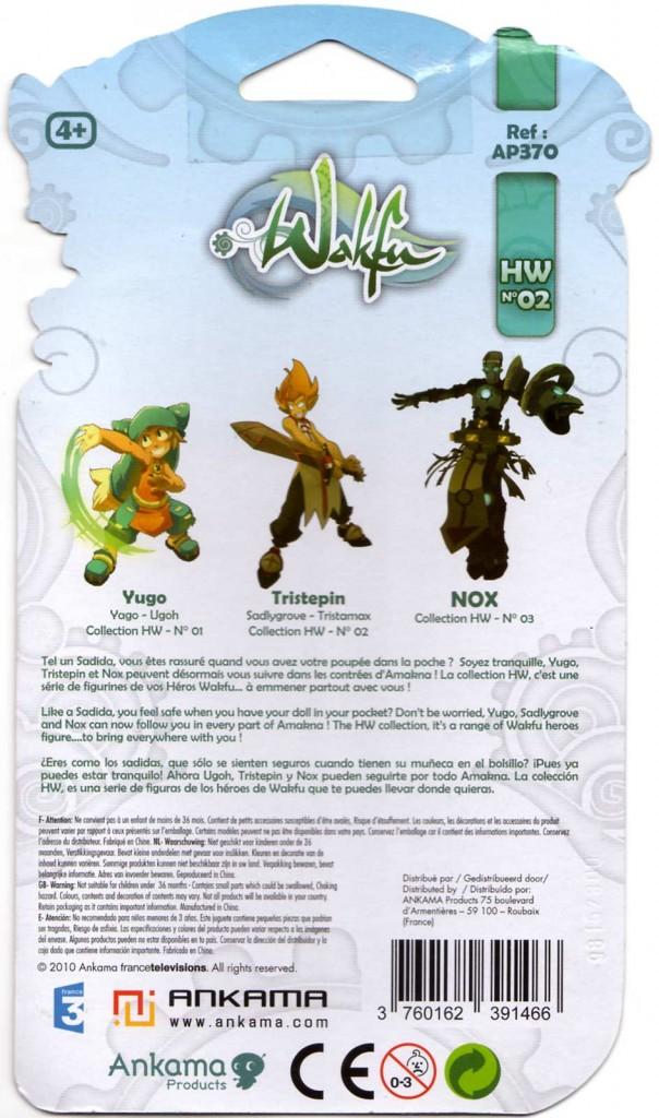 Dos du packaging de la figurine HW N°2 de Tristepin (Wakfu)