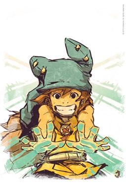 Cette illustration de Yugo dédicacée par Jebedaï, était fournie avec les 500 premières figurines vendues sur le shop d'Ankama