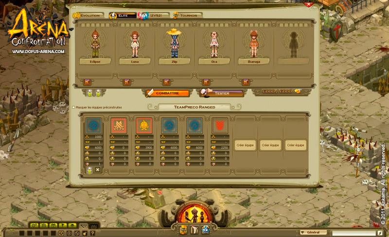 Arena Confrontation : Nouvelle interface de gestion des équipes (Dofus - Wakfu)