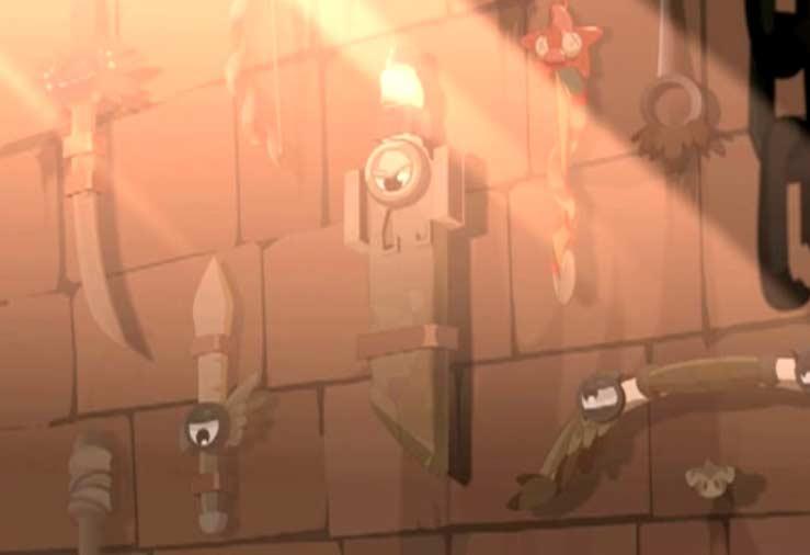 Le mur du château est recouvert d'armes shushutées