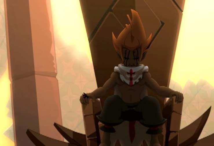Tristepin est assis surle trône de pierre