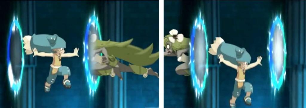 Amalia arrive à passer au travers du portail de Yugo sans que ça ne le fatigue (Wakfu)