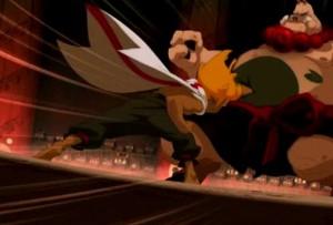 Les coups de Tristepin sont absorbés par le gras du Dragon Cochon (Wakfu ep 32)