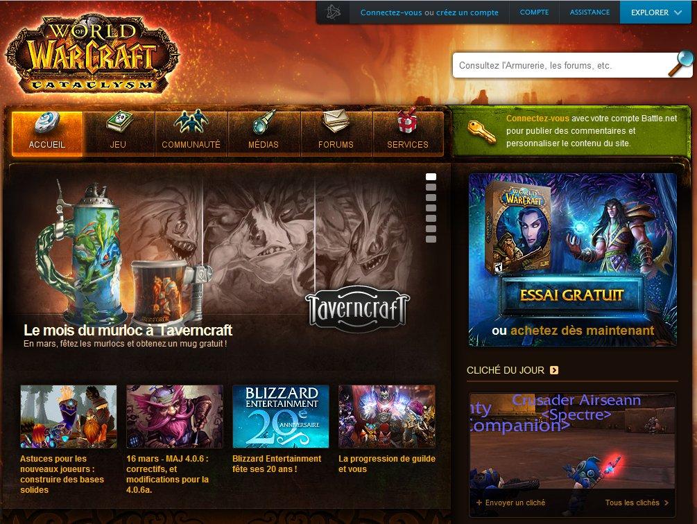 Page d'accueil battle .net, le site officiel de World of Warcraft