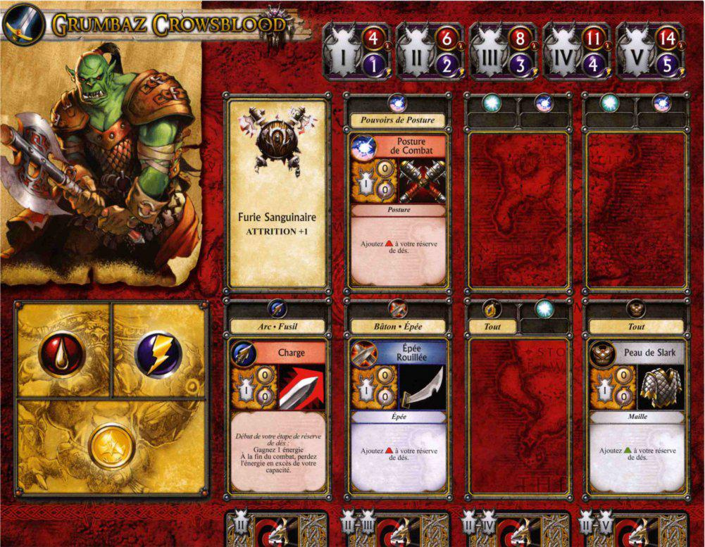 Jeu de plateau World of Warcraft : Fiche de personnage d'un guerrier de la horde